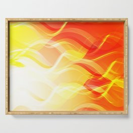Theme of fire for the banner. Bright red and orange glare on a gentle background for a fabric or pos Serving Tray
