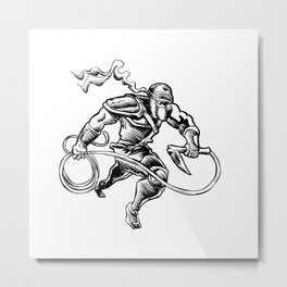 hand drawn Sketchy illustration of a ninja Metal Print