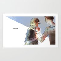hetalia Art Prints featuring hetalia Hauted by Hellacrappy
