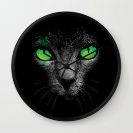 Black Cat with Green Eyes Wall Clock
