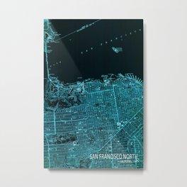 San Francisco North old map, vintage blue map Metal Print