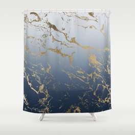 Modern grey navy blue ombre gold marble pattern Shower Curtain
