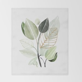 Forest Bouquet - Green Leaves Watercolor Throw Blanket