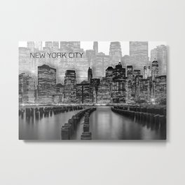 MANHATTAN Skyline | Graphic Art | white Metal Print