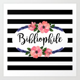 Bibliophile - Stripes & Flowers Art Print