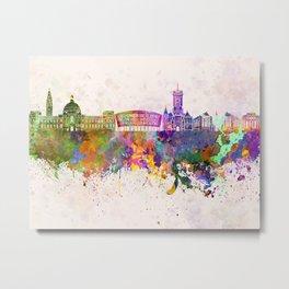 Cardiff skyline in watercolor background Metal Print