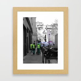 Paris street art black and white with color Framed Art Print
