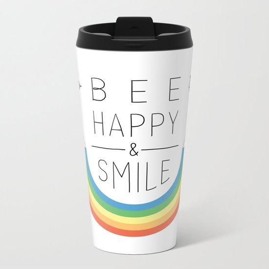 Bee Happy and Smile Metal Travel Mug