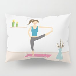 Yoga Girl In Extended Hand To Toe Pose Cartoon Illustration Pillow Sham