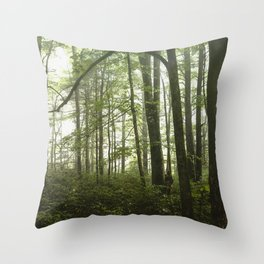 Smoky Mountain National Park - Green Foggy Forest Throw Pillow