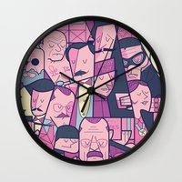 budapest hotel Wall Clocks featuring Grand Hotel by Ale Giorgini