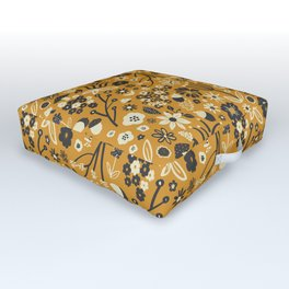 Freestyle Fall Floral in Ochre Outdoor Floor Cushion