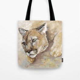 Captivated Mountain Lion Tote Bag