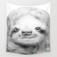 sloth Wall Tapestries featuring Sloth by Eric Fan