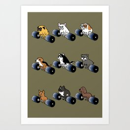 5 plates deadlift Puppies Art Print