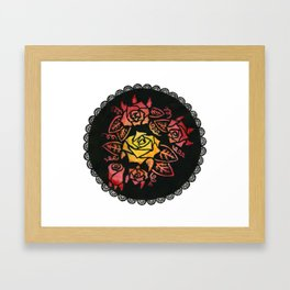 Hand Painted Watercolor Lacey Roses Framed Art Print