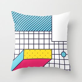 Festive Background in Neo Memphis Style Colorful Decorative pattern Throw Pillow