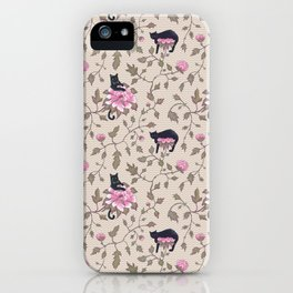 Cats and flowers on beige background iPhone Case