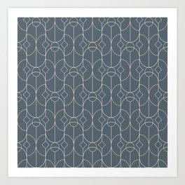 Contemporary Bowed Symmetry in Peninsula Blue Art Print