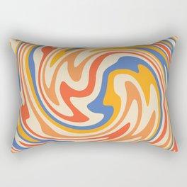 70s Retro Swirl Color Abstract 2 Rectangular Pillow