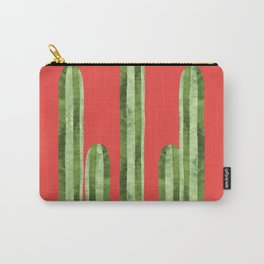 Watercolor of cacti on red background Carry-All Pouch