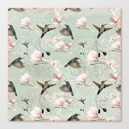Vintage Watercolor hummingbird and Magnolia Flowers on mint Background Canvas Print
