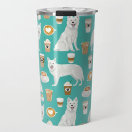 White Shepherd dog breed White German Shepherd coffee coffees pet friendly turquoise Travel Mug