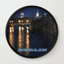 Berlin Night Skyline on the River Spree Wall Clock