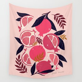 Pomegranate - Pink Wall Tapestry