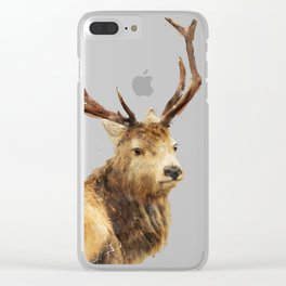 Winter Red Deer Clear iPhone Case