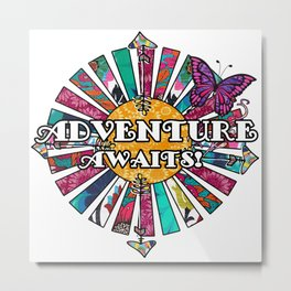 Adventure Awaits Retro Fabric Collage Metal Print