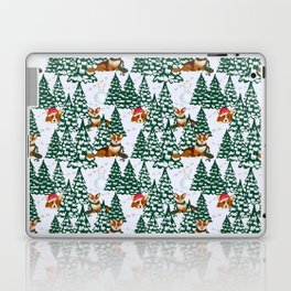 Corgis in the white winter forest Laptop & iPad Skin