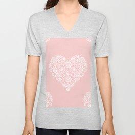 Millennial Pink Blush Rose Quartz Hearts Lace Flowers Pattern Unisex V-Neck