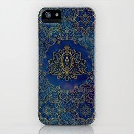 Elegant  Gold Lotus flower on blue iPhone Case