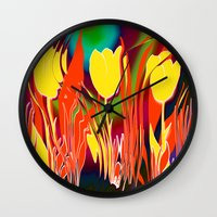 tulip Wall Clocks featuring Tulip  by LoRo  Art & Pictures