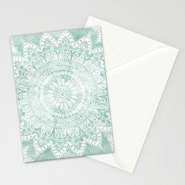 BOHEMIAN FLOWER MANDALA IN TEAL Stationery Cards