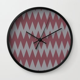 Red and Grey Zigzag Pattern Pantone 2021 Color of the Year Ultimate Gray 17-5104 Wall Clock