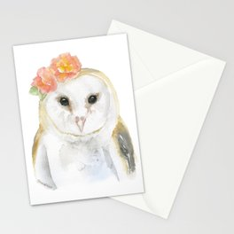 Barn Owl Floral Watercolor Stationery Cards