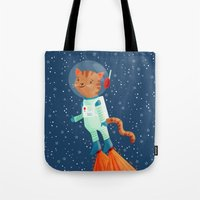 space cat Tote Bags featuring Space Cat by Stephanie Fizer Coleman