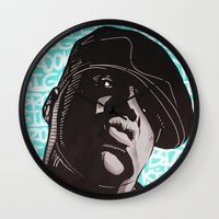 biggie smalls Wall Clocks featuring Biggie Smalls by Art By Ariel Cruz