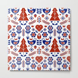 Scandinavian Folk Pattern Seamless Metal Print