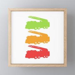 Nice Silhouette Of Firetruck Tee For Firefighters Fireman T-shirt Design Emergency Help Station Framed Mini Art Print