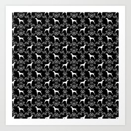 Vizsla dog breed minimal pattern floral black and white pastel dog gifts vizlas breed Art Print