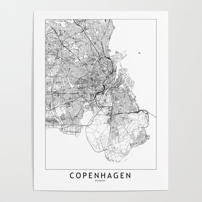 Copenhagen White Map Poster