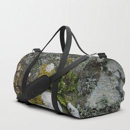 Coastal Rocks With Lichens and Ferns Duffle Bag