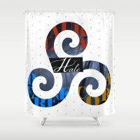 derek hale Shower Curtains featuring Hale Family by Ana Sánchez