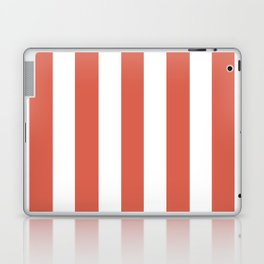 Jelly bean pink - solid color - white vertical lines pattern Laptop & iPad Skin