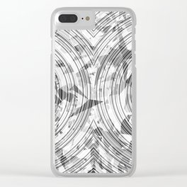 psychedelic geometric circle pattern abstract background in black and white Clear iPhone Case