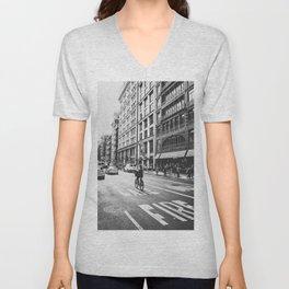 New York City Bicycle Ride in Soho Unisex V-Neck