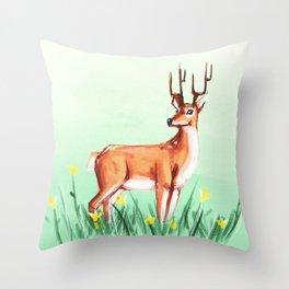 Spring Deer Throw Pillow